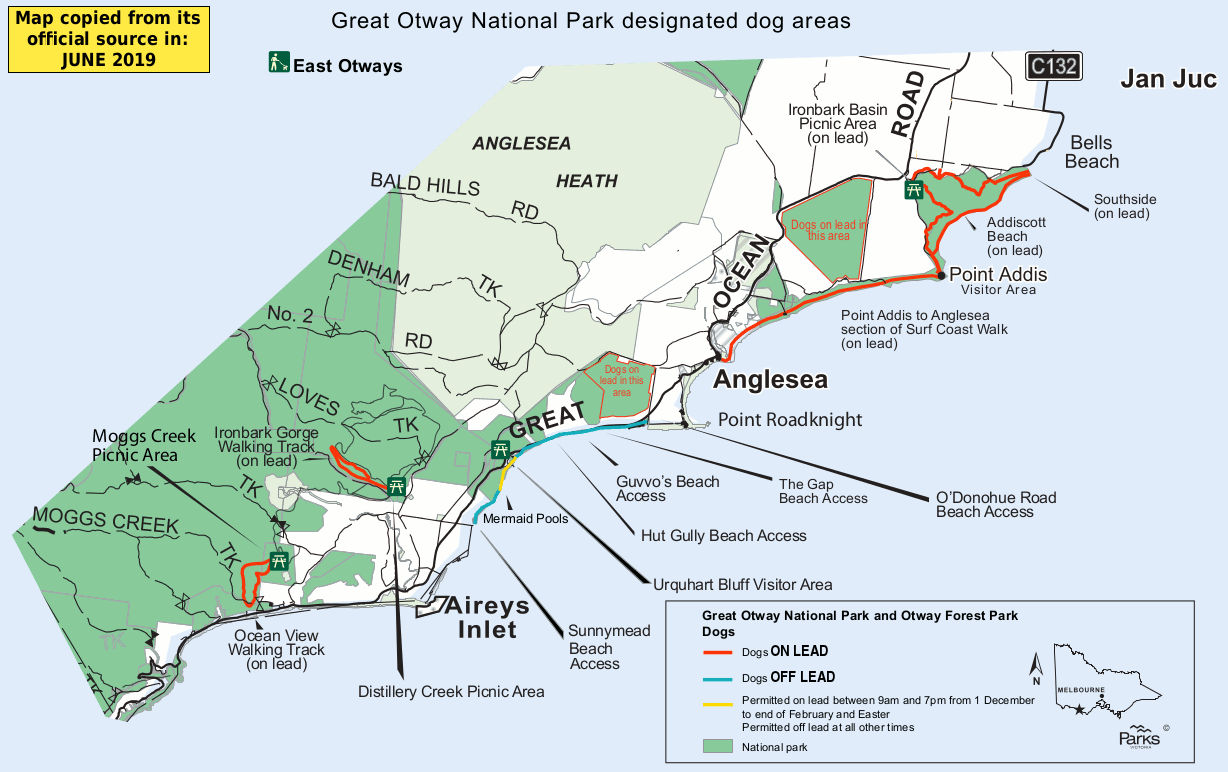 Great Otway National Park - east dog beach map