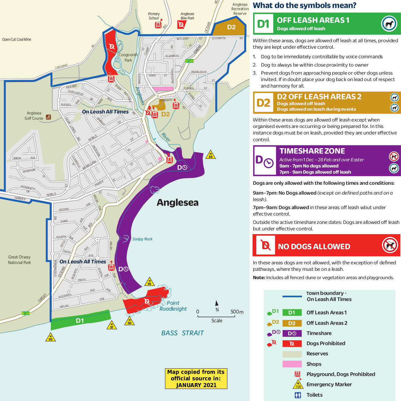 Anglesea dog beach map