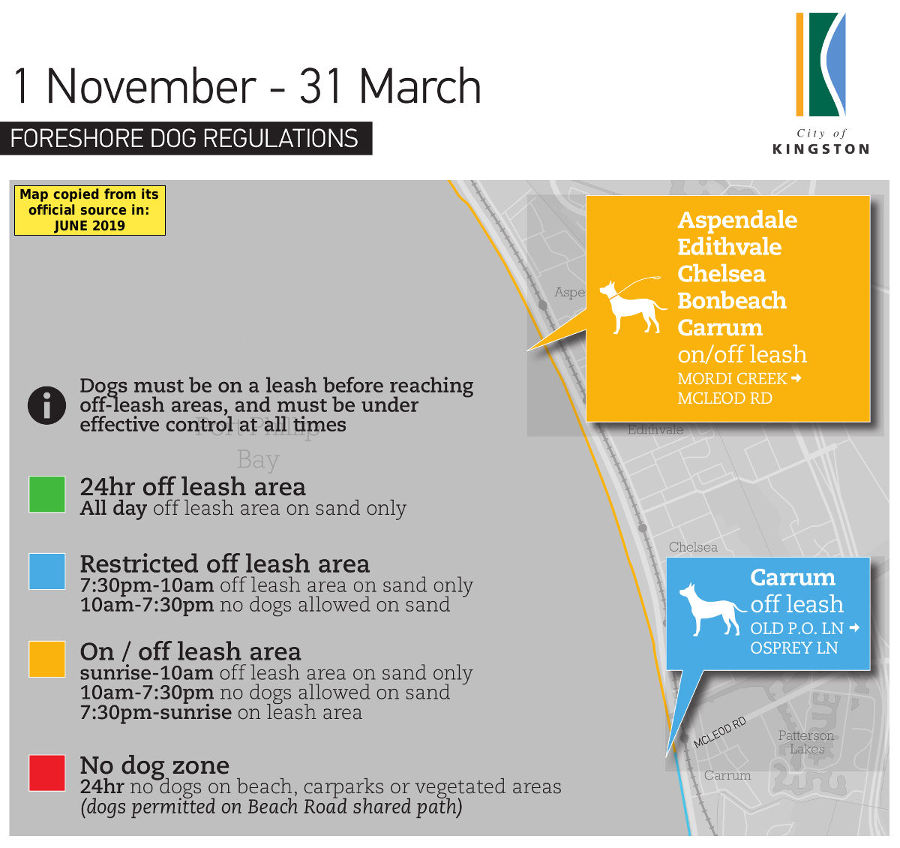 Chelsea, Aspendale, Bonbeach, Carrum & Edithvale summer dog beach map