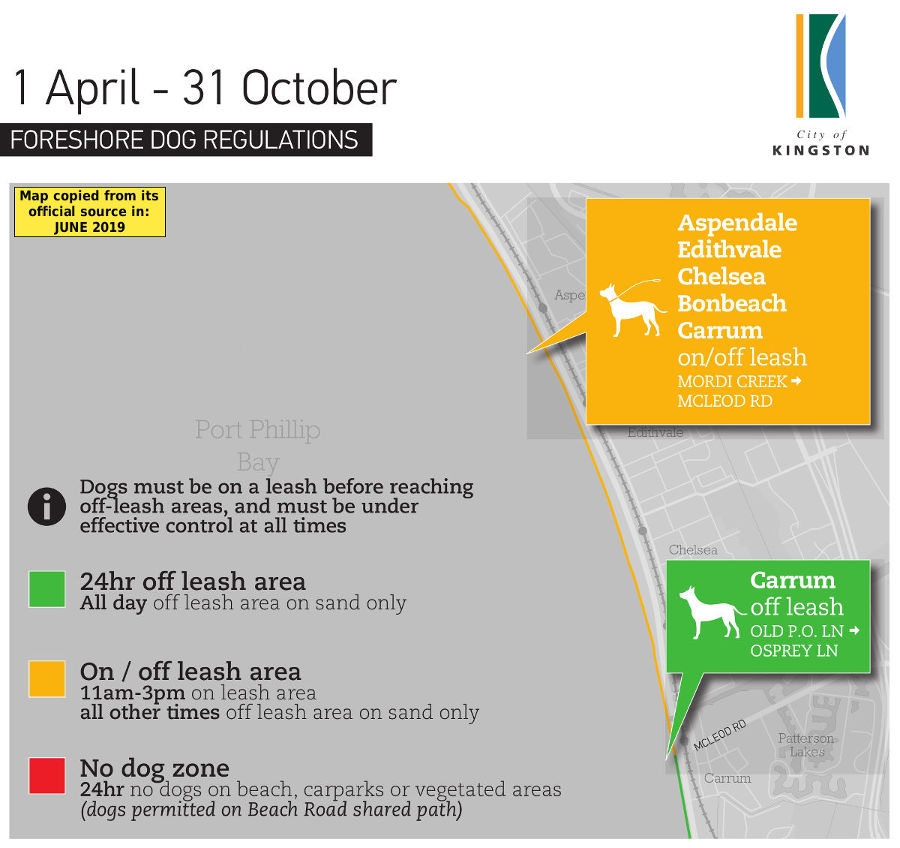 Chelsea, Aspendale, Bonbeach, Carrum & Edithvale winter dog beach map