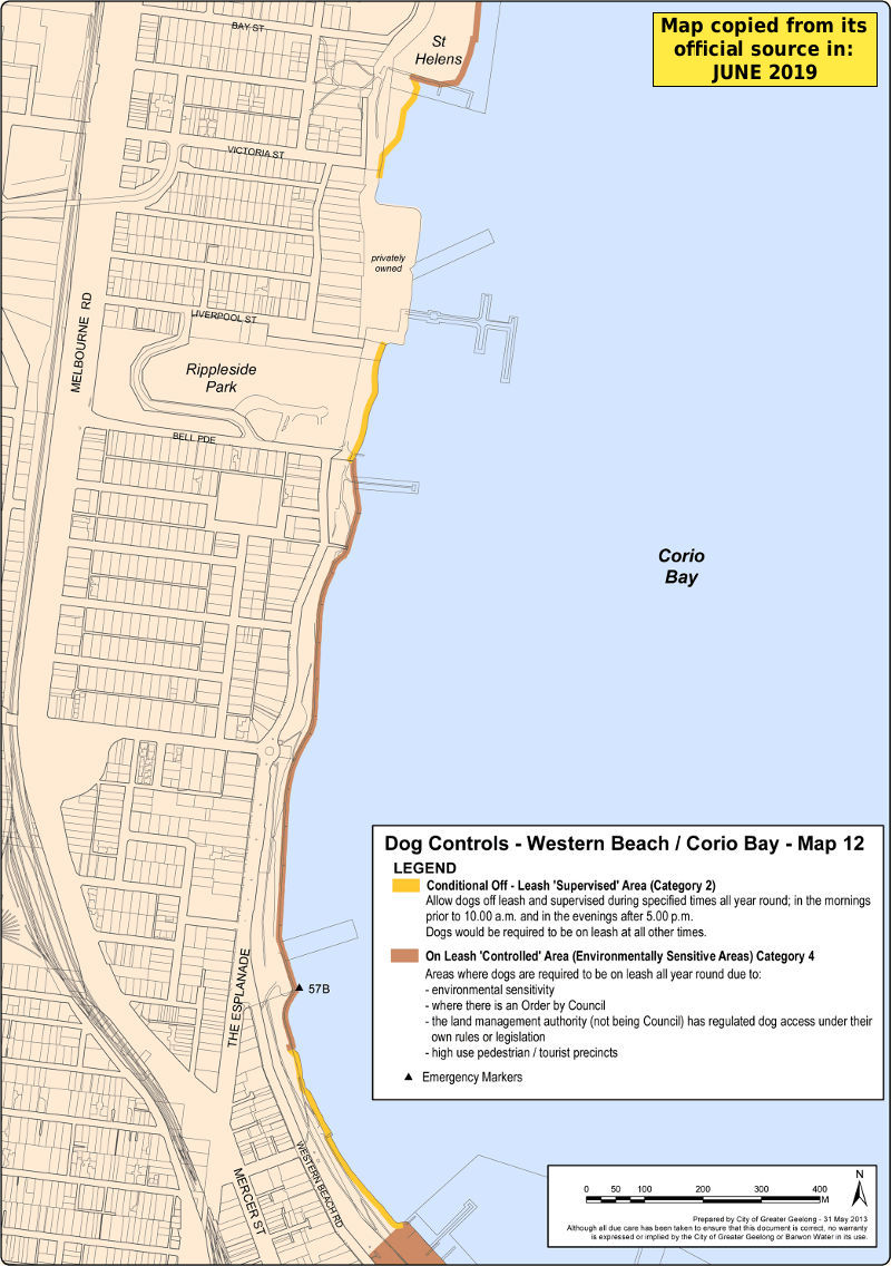 Western Beach & Corio Bay dog beach map
