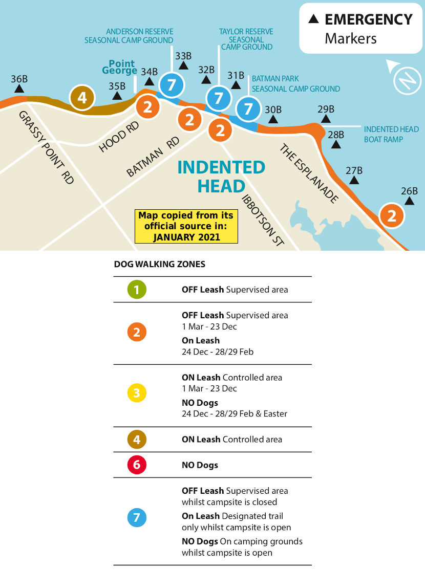 Indented Head dog beach map