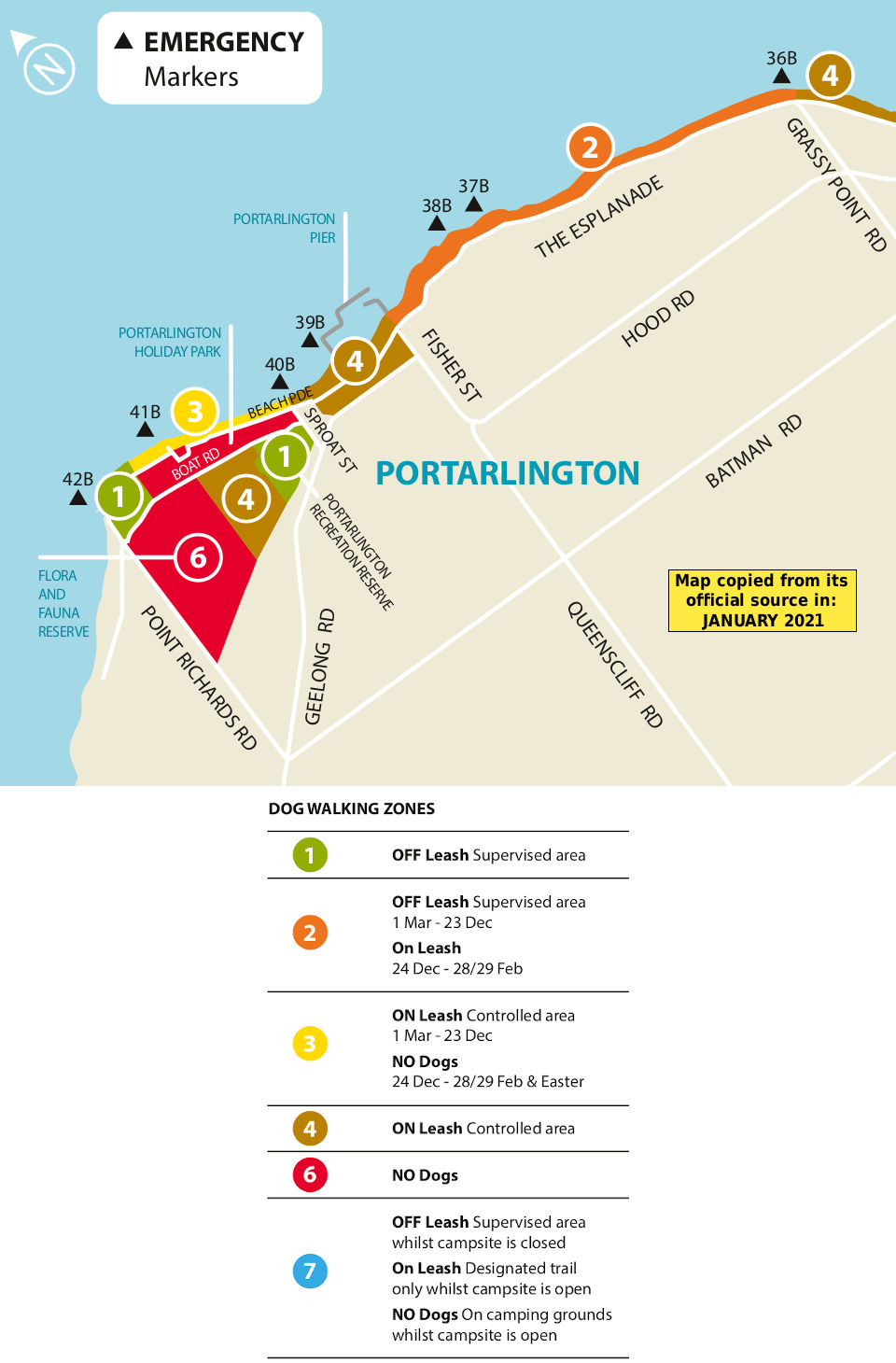 Portarlington dog beach map