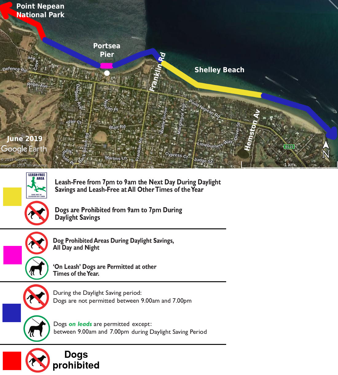 Portsea dog beach map