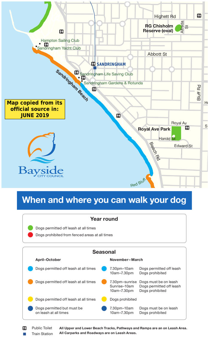 Sandringham dog beach map