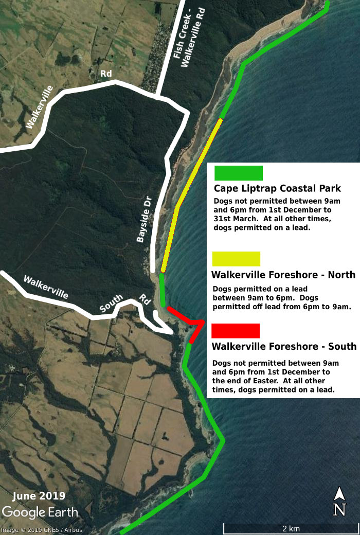 Walkerville dog beach map