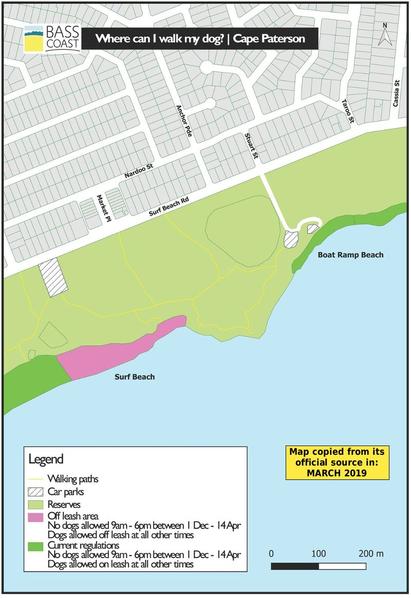 Cape Paterson dog beach map