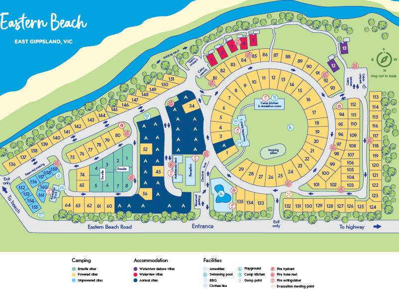 NRMA Eastern Beach Holiday Park - Park map