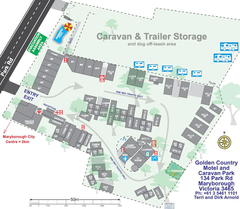 Golden Country Motel & Caravan Park - Park map