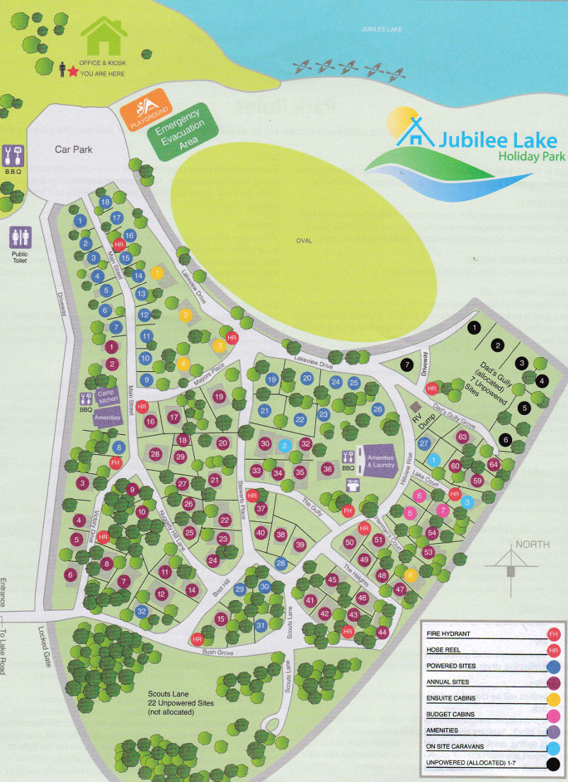 Jubilee Lake Holiday Park - Park map