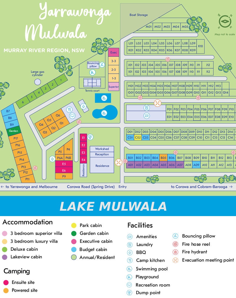 BIG4 NRMA Yarrawonga Mulwala Holiday Park - Park map